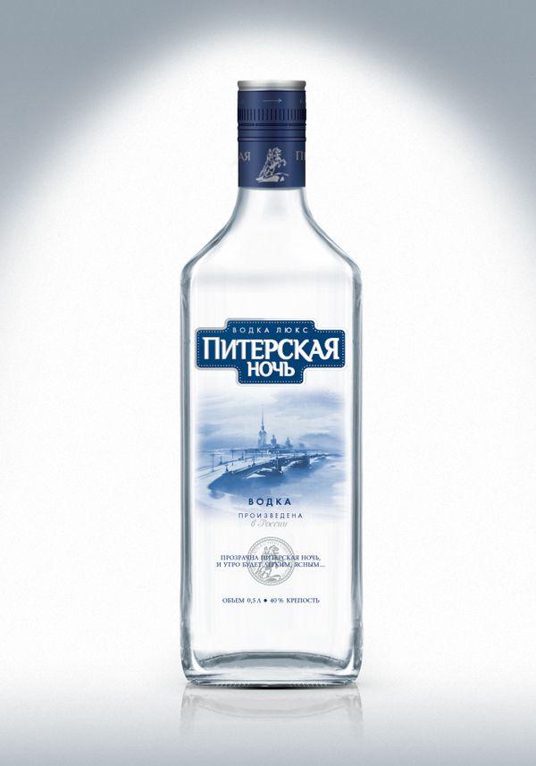 Новый дизайн упаковки водки «Питерская ночь». Разработчик - агентство DDC Creative Lab, 2012г.