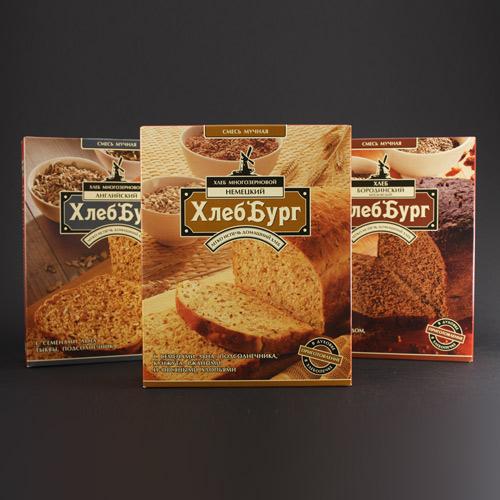 Агентство «Метрополия» создало дизайн упаковки мучных смесей «Хлеббург»