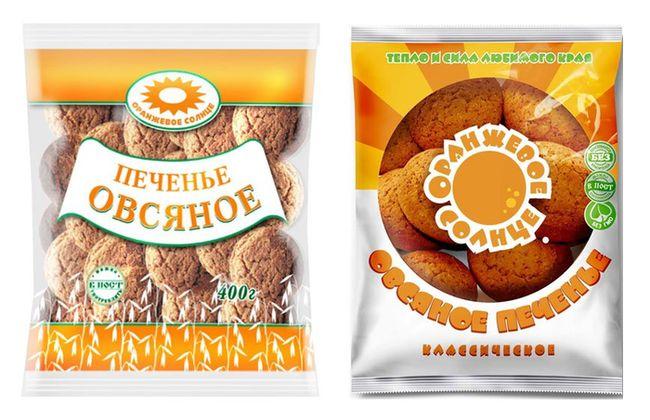 старый (слева) и новый (справа) дизайн упаковки овсяного печенья «оранжевое солнце».