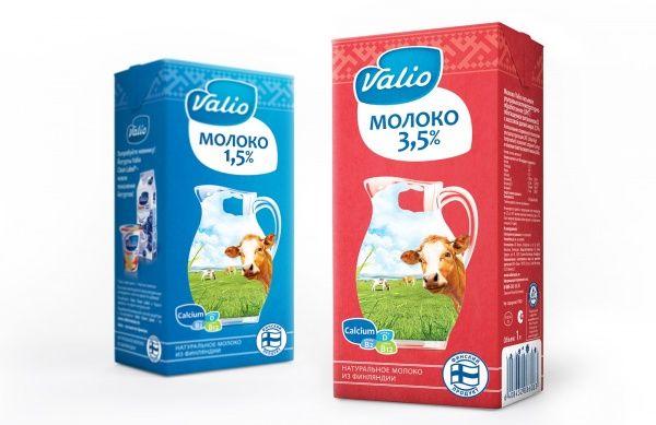 Новый дизайн упаковки для линейки молока UHT (ультравысокотемпературной обработки) компании Valio, 2013 год.