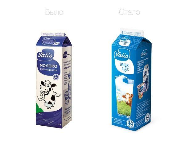 Прежний и новый дизайн упаковки для линейки молока ESL (ультрапастеризованной обработки) компании Valio.