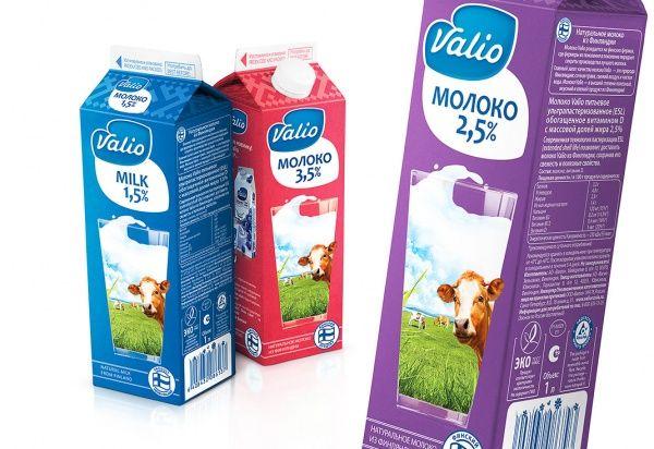 Новый дизайн упаковки для линейки молока ESL (ультрапастеризованной обработки) компании Valio, 2013 год.