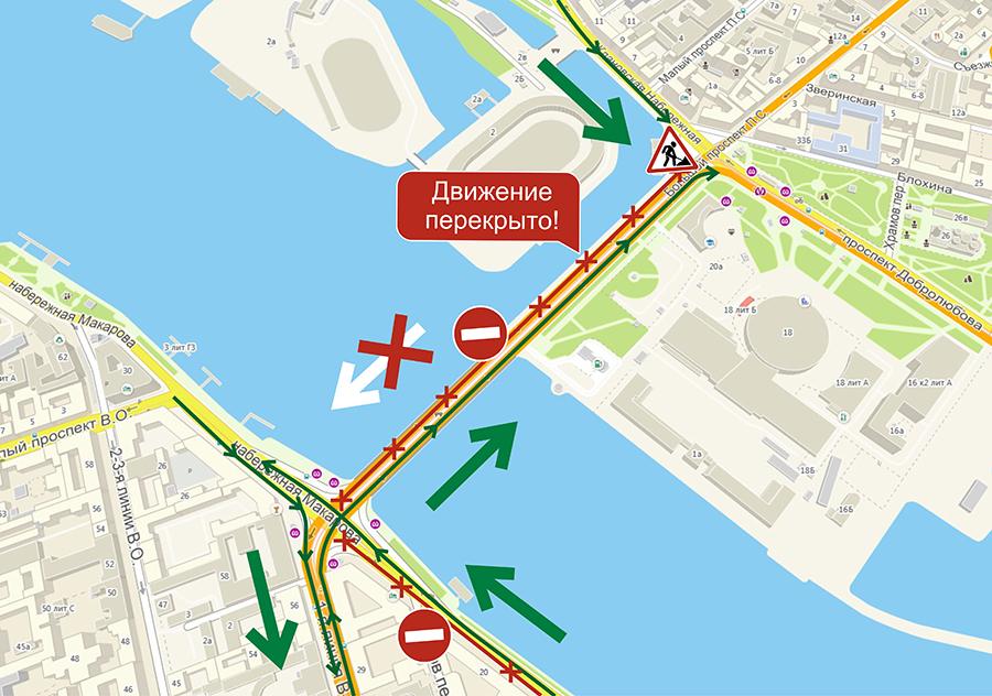 Карта Тучкова моста