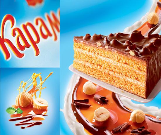 Элементы дизайна упаковки торта «Карамелия», комбинат «Черемушки». Разработчик - брендинговое агентство RUNWAY BRANDING, 2012г.