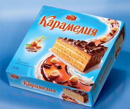 Рестайлинг торта «Карамелия», комбинат «Черемушки». Разработчик - брендинговое агентство RUNWAY BRANDING, 2012г.