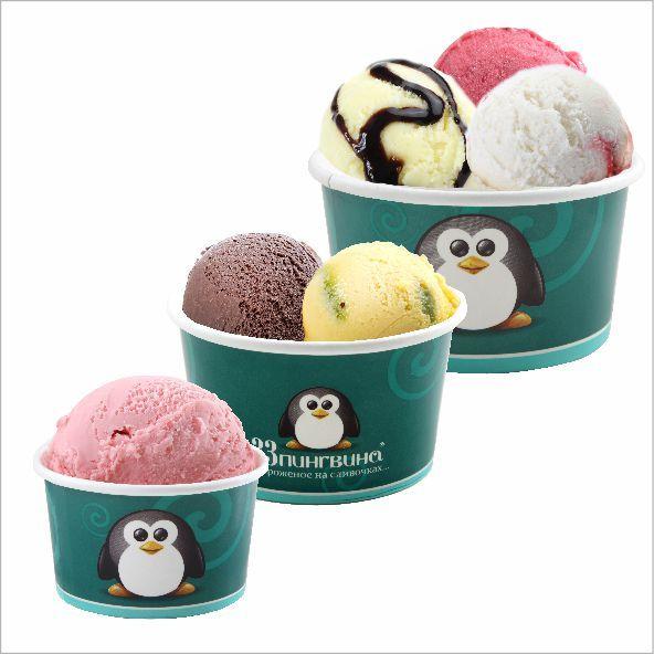 Дизайн упаковки мороженого «33 пингвина», 2012 год.