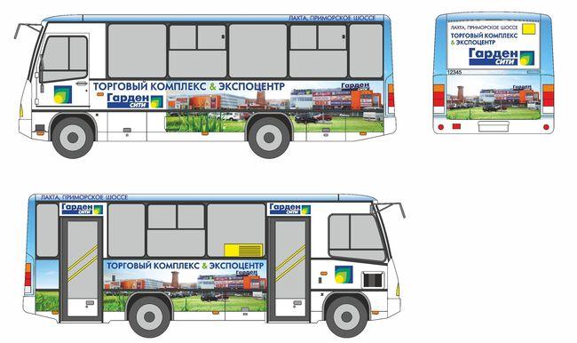 Раскрой рекламного принта ТВК «Гарден Сити» для автобуса ПАЗ, 2013 год.