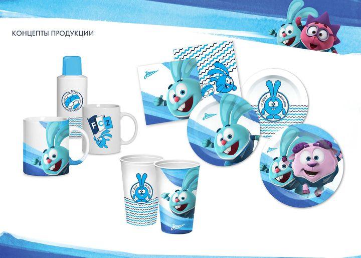 Примеры концептов брендированной продукции по совместной лицензии «Смешарики + Зенит», 2013 год.