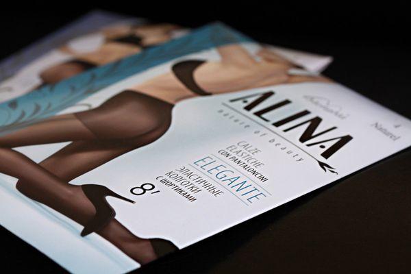 Рестайлинг марки колготок «ALINA». Заказчик - компания MENGNA, разработчик - брендинговое агентство RUNWAY BRANDING, 2012г.